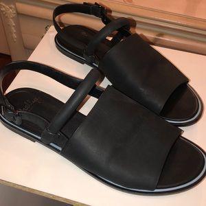 Shellys London leather black flat strap sandals